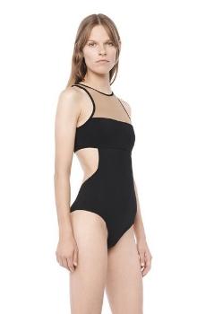 Alexander Wang Mesh Combo One Piece Swimsuit, $365