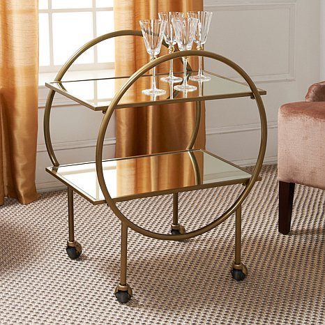 The  Colin Cowie  Bar Cart is on the smaller side and is retro in a very cool way.