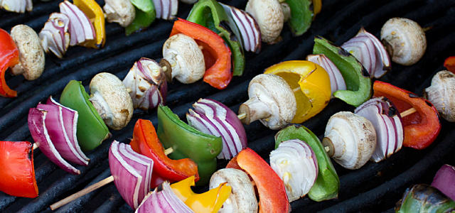 Soak skewers for 30 minutes.  Cut peppers, onions, asparagus, mushrooms, and any other desired vegetables into large, bite-sized pieces.  Thread vegetables onto soaked skewer leaving a little space between for even cooking.  Brush vegetables with olive oil and sprinkle with salted and pepper.  Place on grill, turning frequently for 5-10 minutes.