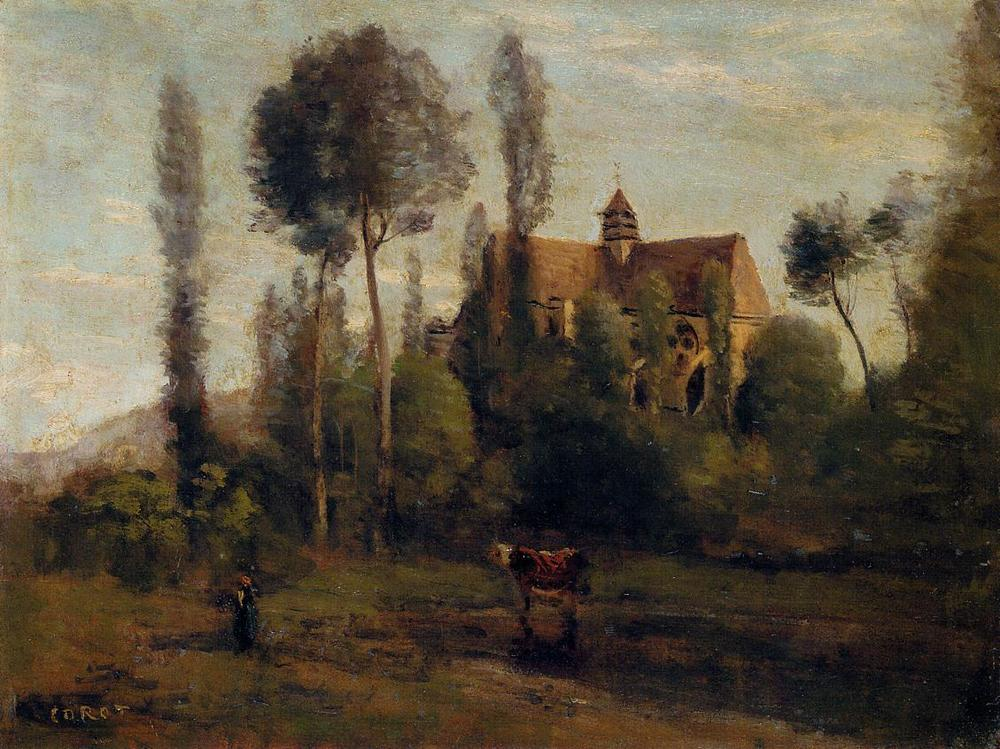 The Church at Essommes, near the Chateau Thierry  , 1856