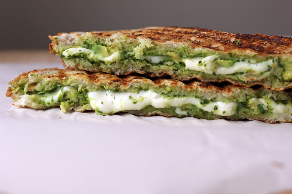 Chimichurri and mozzarella panini