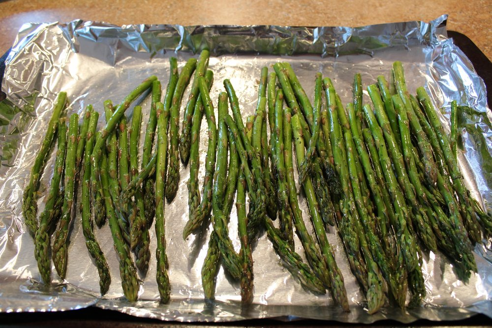 ***If making asparagus as a side: drizzle with olive oil, sprinkle with salt and pepper.  Cook along side chicken for the last 10 minutes.