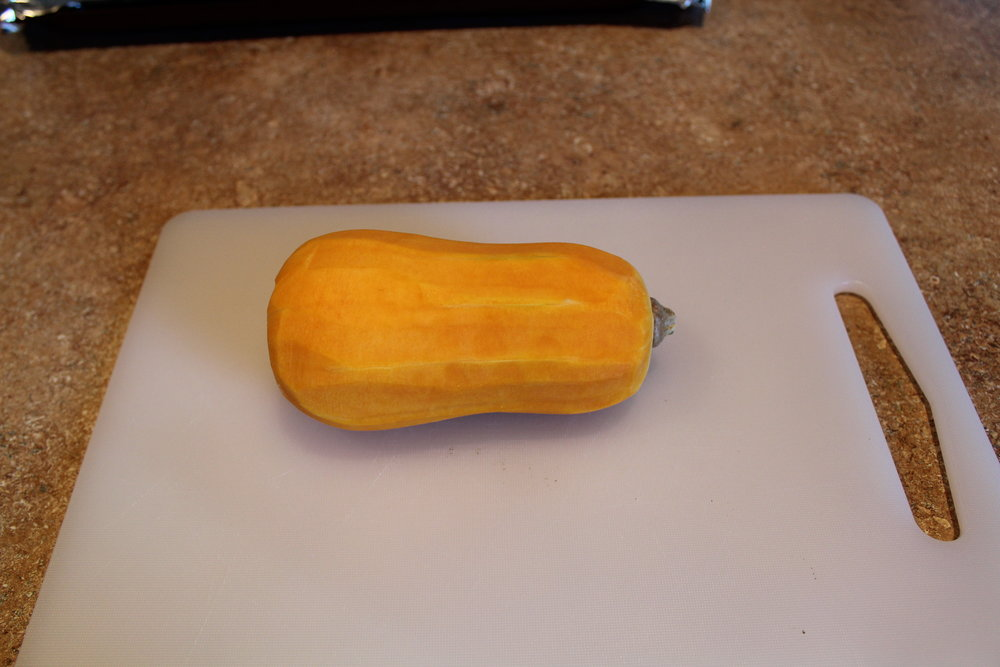1. Peel the butternut squash and cut off ends.