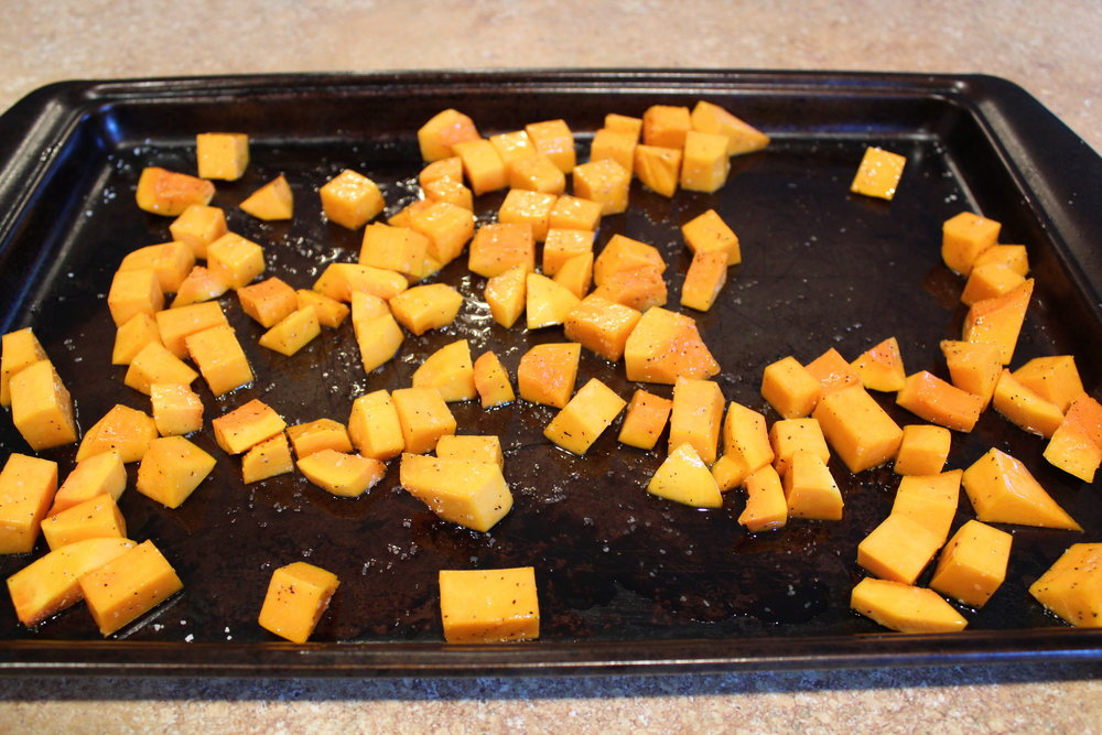 4.  Drizzle squash with extra virgin olive oil and sprinkle with salt and pepper.