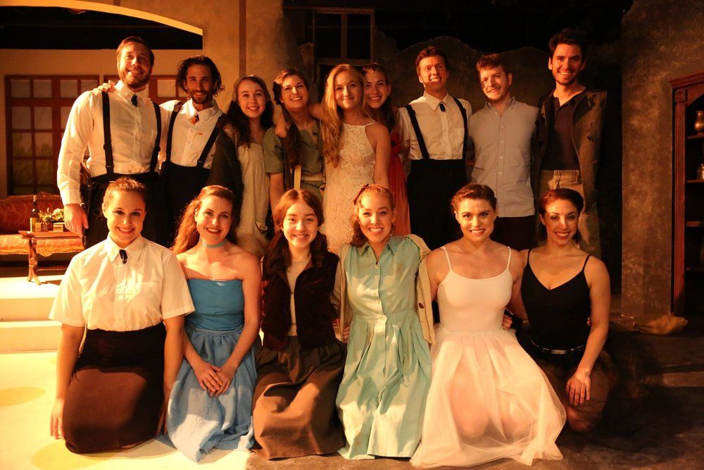 Our Beautiful Cast of 13, all smiles after a successful opening night!
