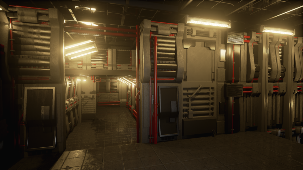 Hallway Modkit - Rendered in realtime in Unreal4 - 2015 - Additional assets by Lauren Toomey