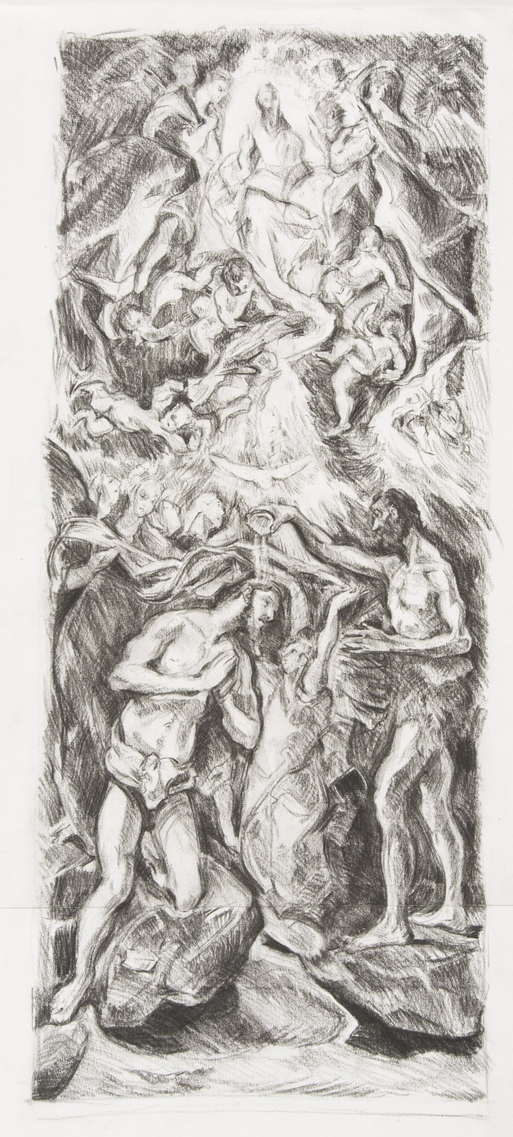 After El Greco 'The Baptism of Christ' (1597-1600)  charcoal drawing on paper
