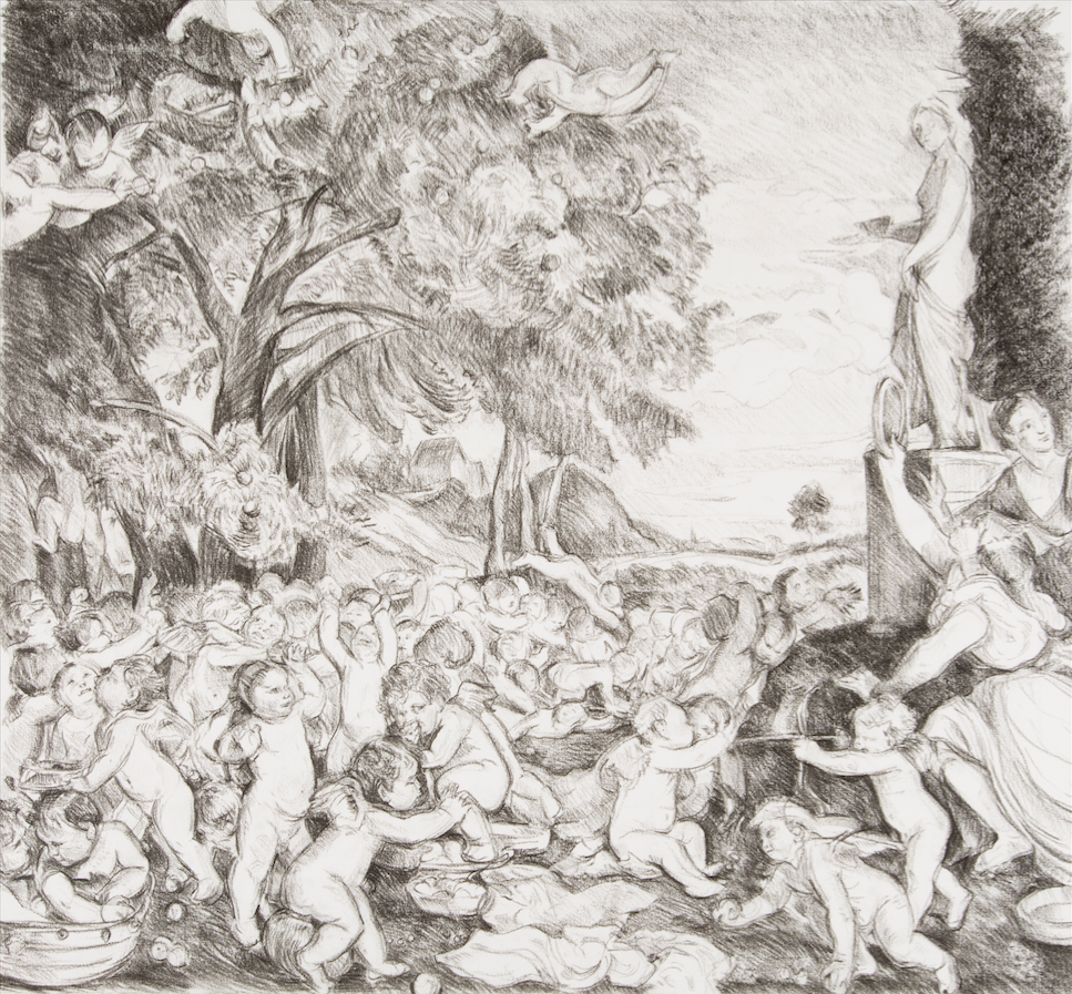 After Titian 'The Worship of Venus' (1519)  charcoal drawing on paper