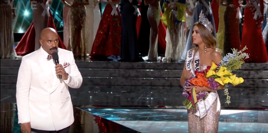 Steve Harvey interrupting Miss Colombia's celebration to announce the  real  winner.