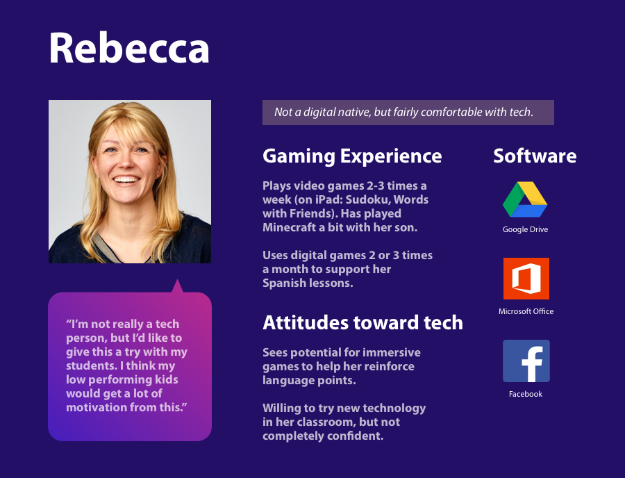 Rebecca, one of our Odeum personas