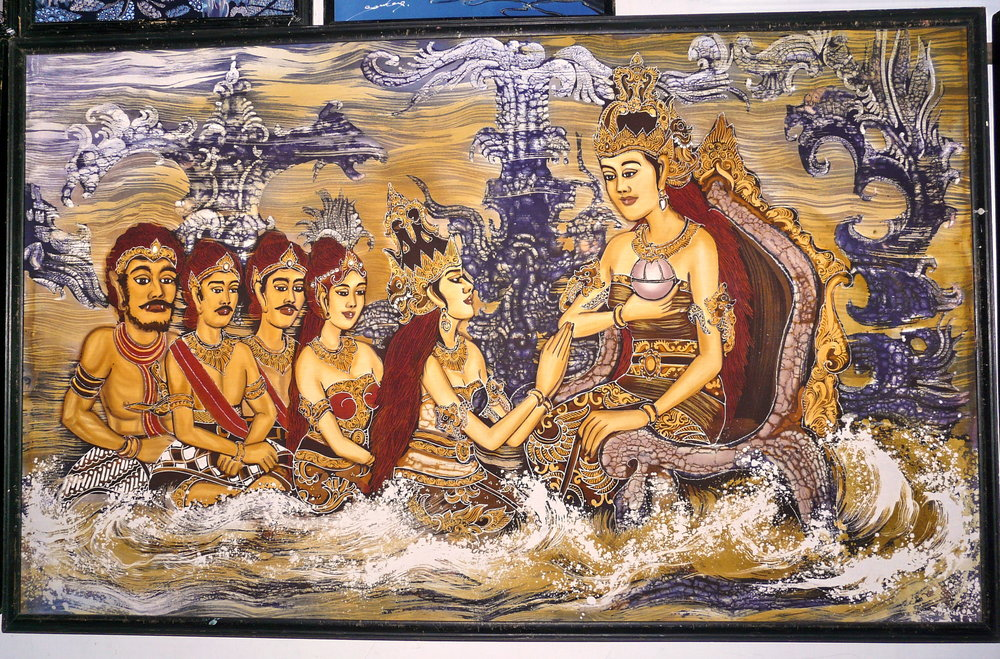 A batik textile showing Ratu Kidul (seated right). (Photo taken by the author.)