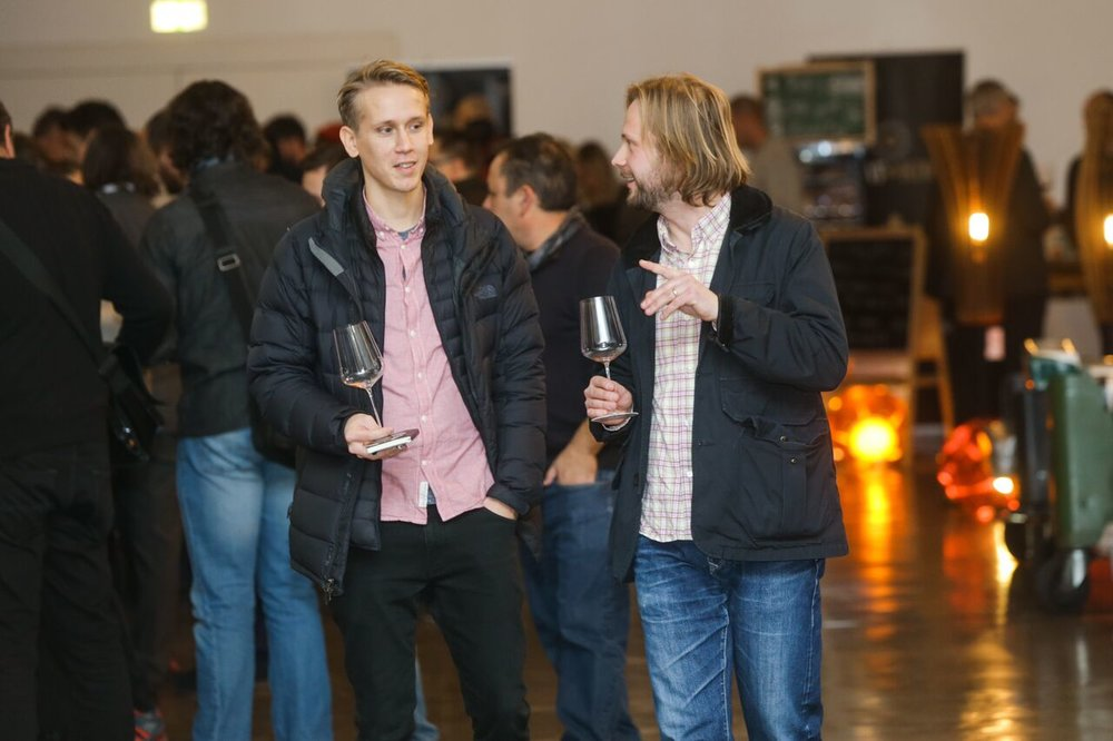 Pontus on the left, staring longingly at some wine probably