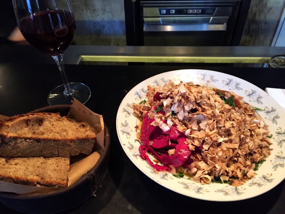 Genius dish - beef stew with barley, pesto oil and red cabbage covered with a huge pile of mushroom shavings. Delicious