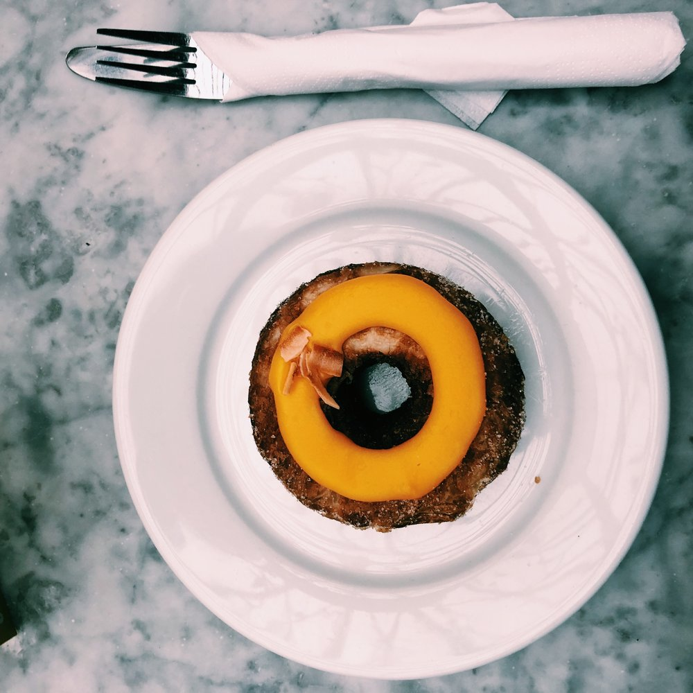Passionfruit toasted coconut cronut