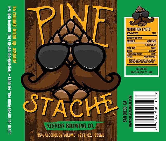 I created this beer label last night for a friend of a friend. Hahaha. So there's that. #beerlabel #brew #pinestache #idontevenknowwhatpinestachemeans #design #packaging #custom #label