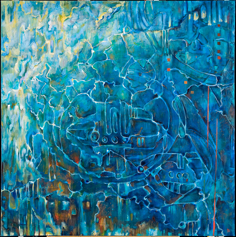 "Sunken Cathedral 2, Acrylic on Canvas, 48 by 48"" 2007"