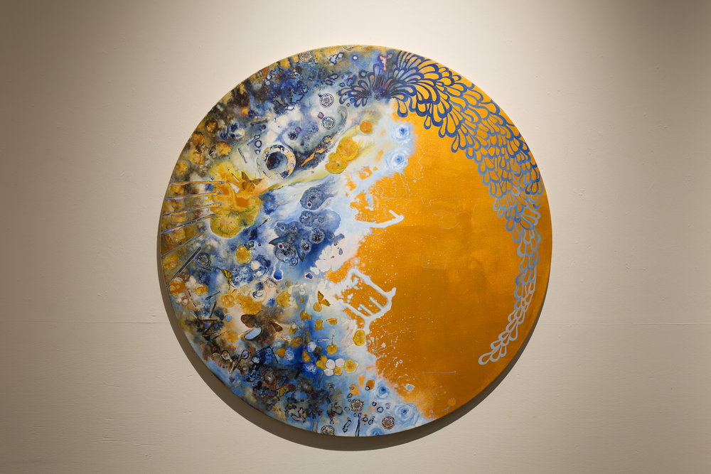 "Edith, Acrylic on Canvas, 47"" Diameter, 2018. $3100.00"