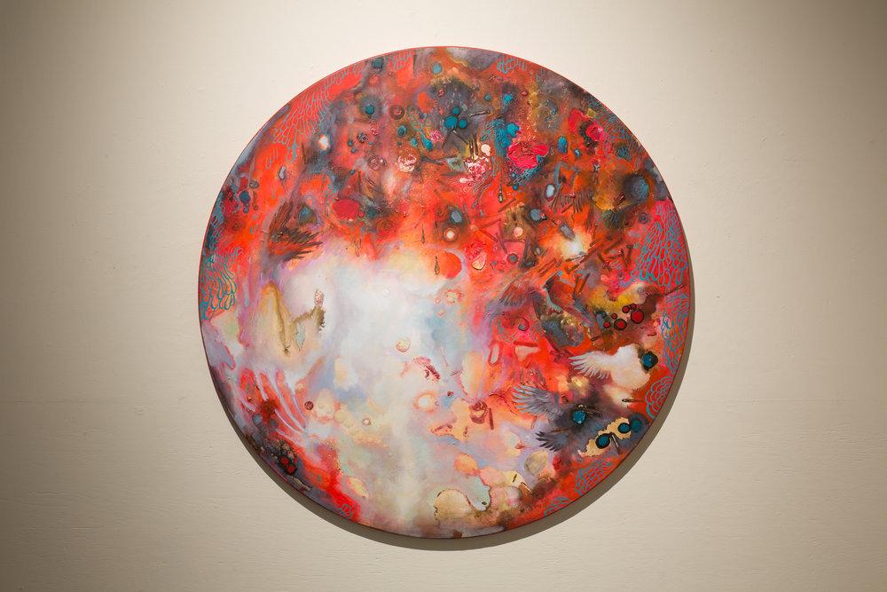 "Cardinal II, Acrylic on Canvas, 47"" Diameter, 2018. $3100.00"