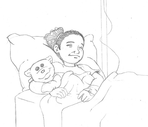 Jeanine's rough draft of Angel and White Bear in a hospital bed