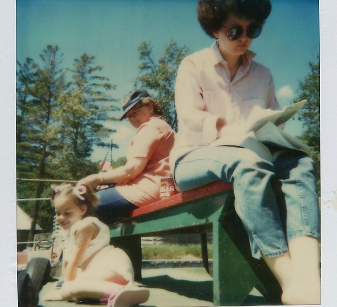 Mom, Grandma and me getting sun