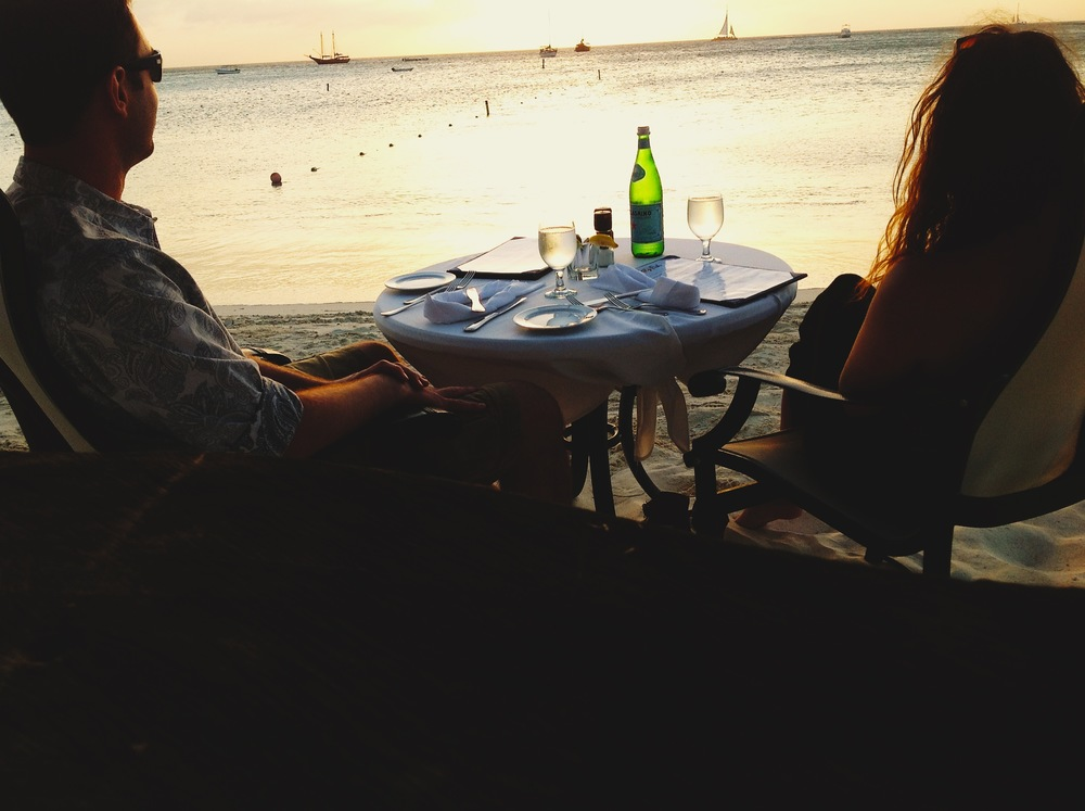 Sunset dinner and San Pellegrino on Palm Beach