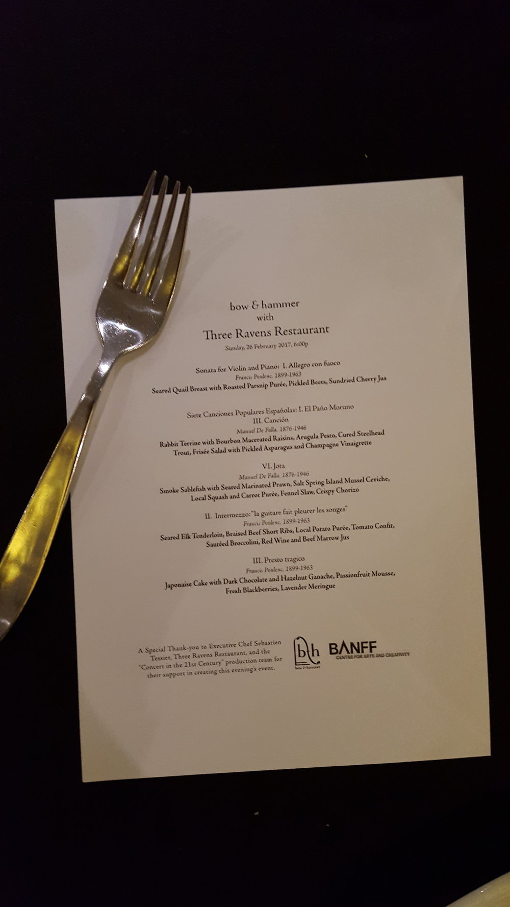 The menu and program for the Bow and Hammer performance