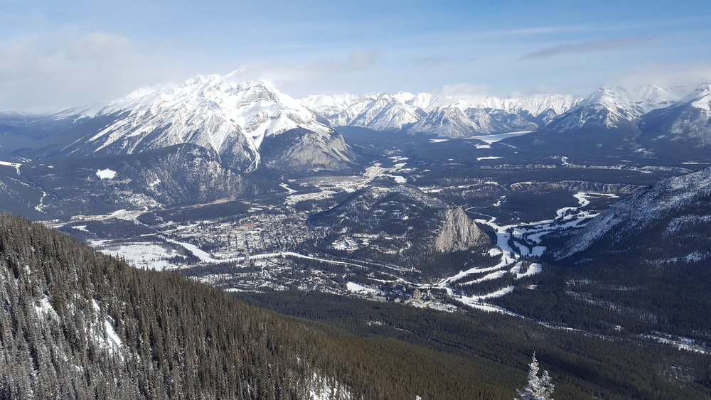 A view of the Banff Centre and town from the top of Sulphur Mountain.