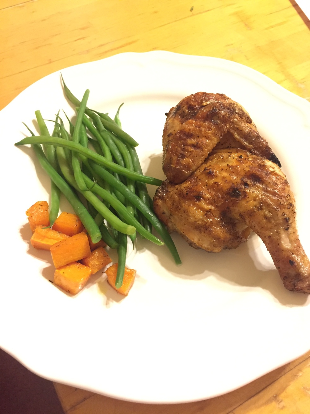 Moroccan Spiced Cornish Hen with haricot vertes and butternut squash.