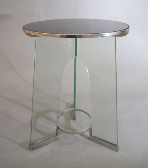 Gio Ponti Rationalist Occasional Table, 1932: Black tempered glass top and clear tempered glass