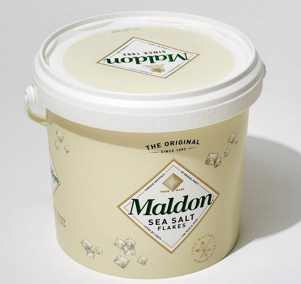An industrial sized tub of Maldon salt