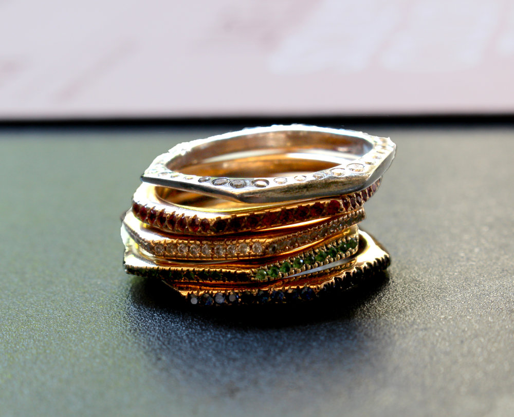 Jessica Biales Slice rings, organic forms where the hand is deliberately felt.