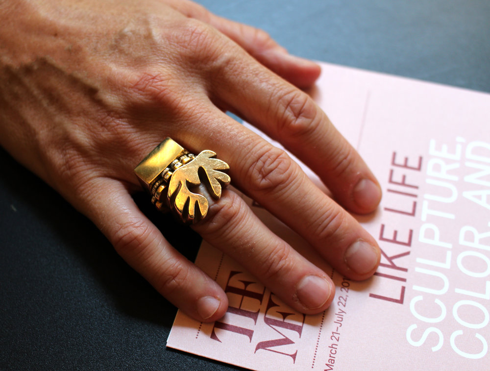 A block signet ring by Jessica Biales, the queen of signets, stacked with her mimosa and antler rings.