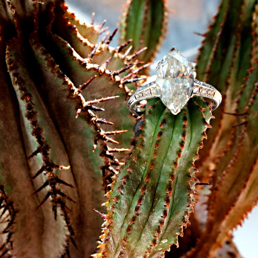 3.02 carat Edwardian marquise diamond ring