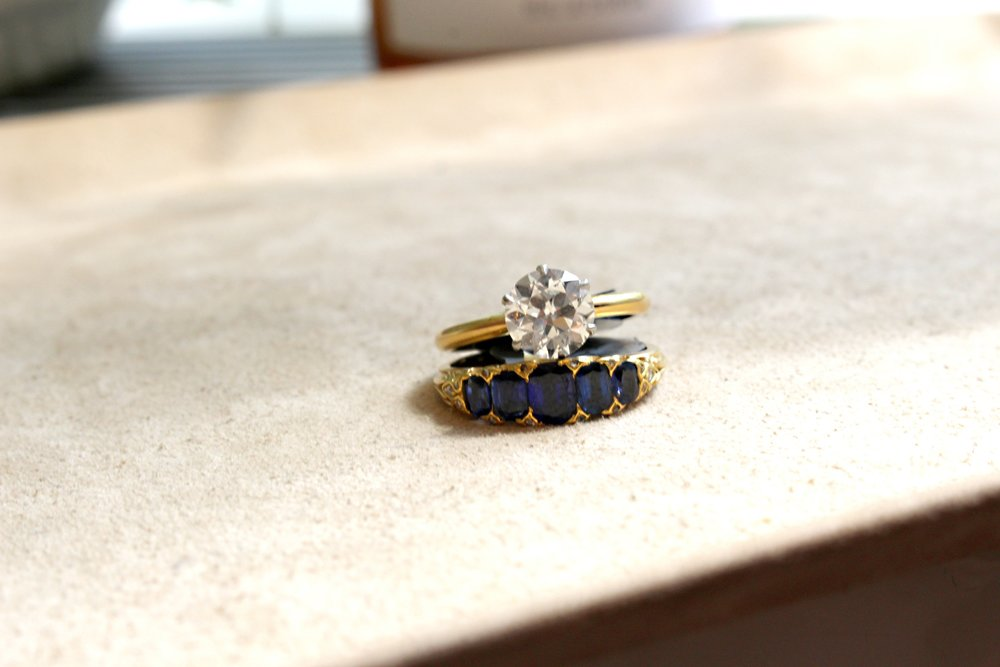 Tiffany solitaire and 5 stone Victorian sapphire ring