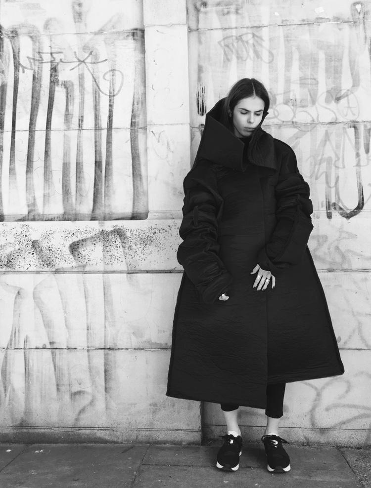 Monika in a coat of her own design, shot by friend @joko_hard