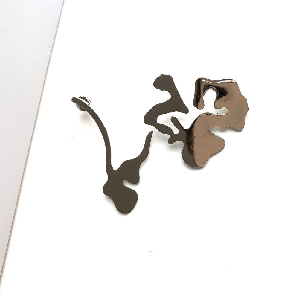 Broken flower earrings