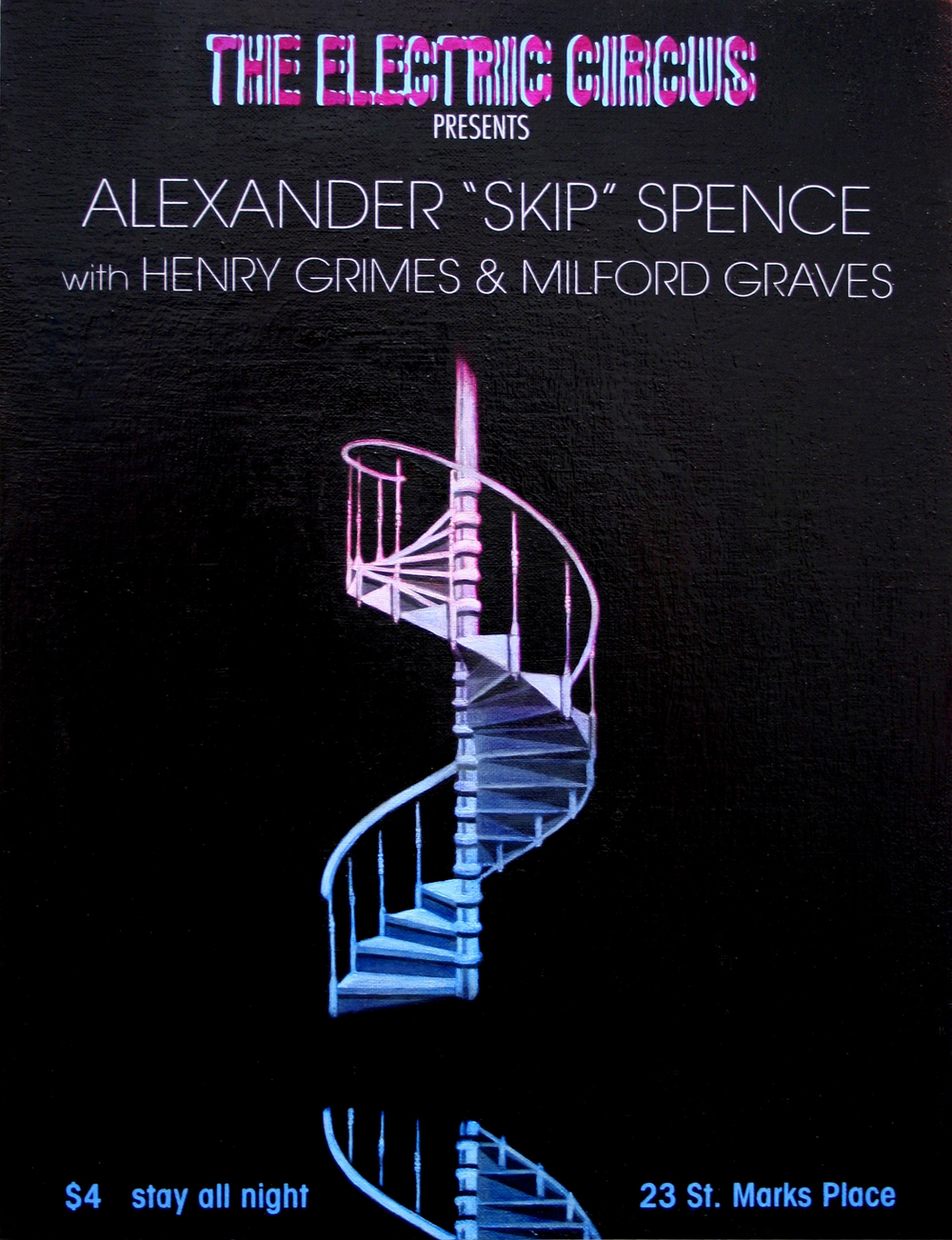 "Alexander ""Skip"" Spence with Henry Grimes & Milford Graves – Electric Circus Showbill – 1969"