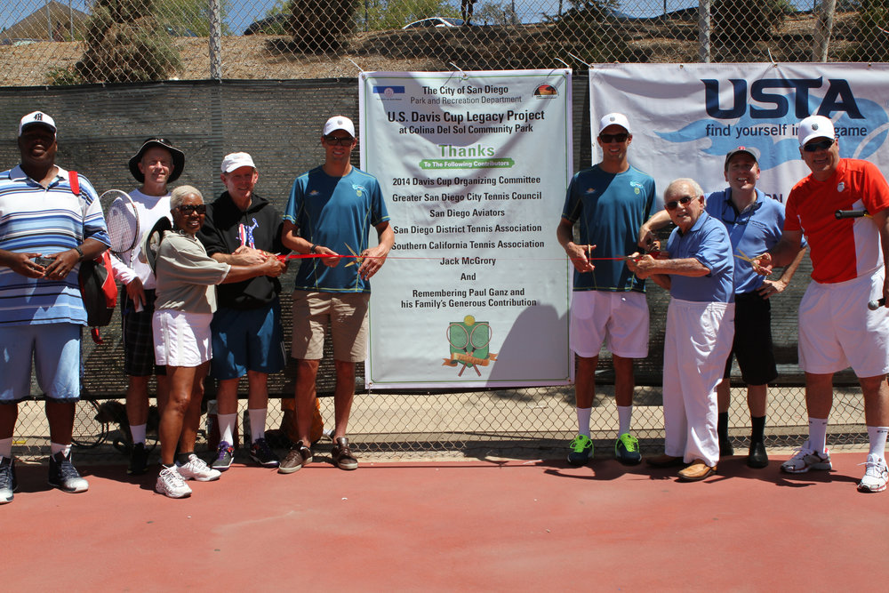 (From left to right): Winston Strozier, Tom O'Brien, Roz King, Bill Kellogg, Bob Bryan, Mike Bryan, Ben Press, David Gill and Wayne Bryan
