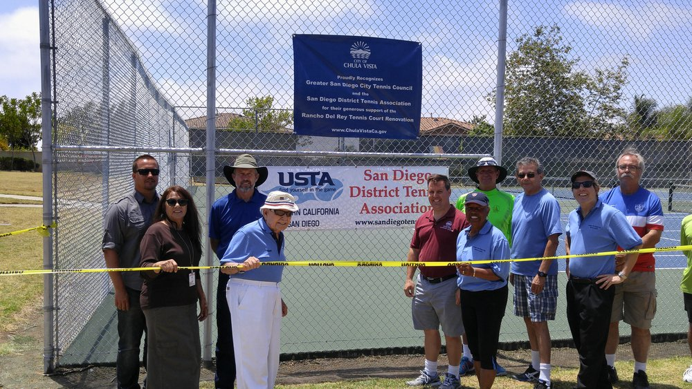 From Left to Right: (unknown, Agnes Bernardo, Tom O'Brien, Ben Press, Chula Vista Council member John McCann, Roz King, Geoff Griffin, Bill Molina, David Gill and unknown)