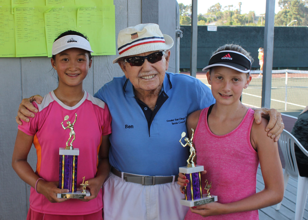 Ben Press with Girls 10 & under Winners