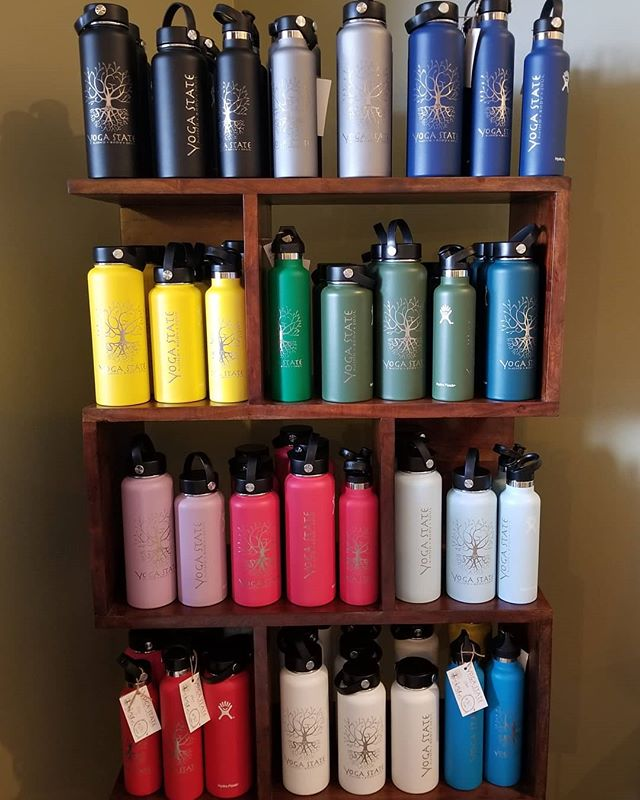 So many colors of YS Hydroflasks water bottles! Best prices in town! 21oz=$28 24 oz =$30 32oz = $36 40oz = $38 Its so important to stay hydrated! You will feel better mentally and physically. Some signs of dehydration are: fatigue, dry skin, tight joints, depression,  headaces, light headedness, bad breath, dark yellow pee, muscle cramps, and constipation. See how much this Hydroflash water bottle will help you stay healthier and feel better!  Come get one soon at both Yoga State locations. Yogastate.net