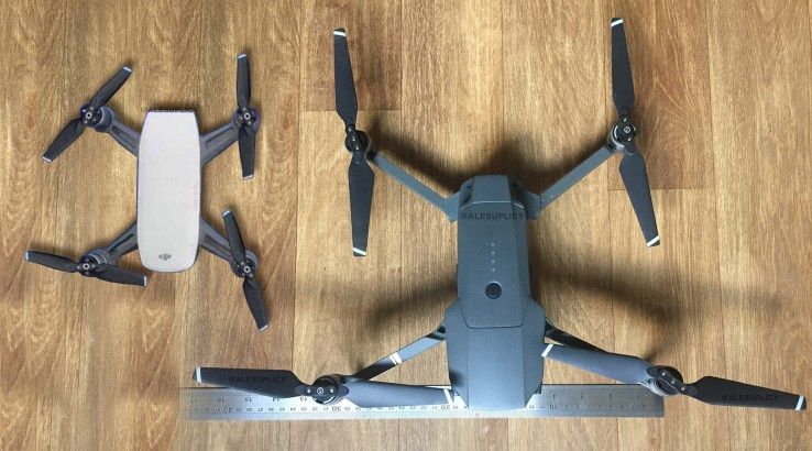 The Spark on the left is about half the size of DJIs next smallest drone the Mavic Pro