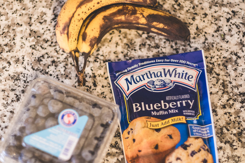 Blueberry muffin mix and ripe bananas