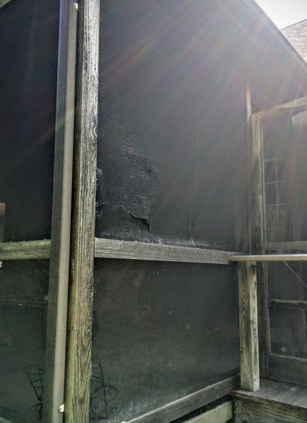 Renue Glass and Screen Repair Cedar Patio Pavilion (Before Photos)