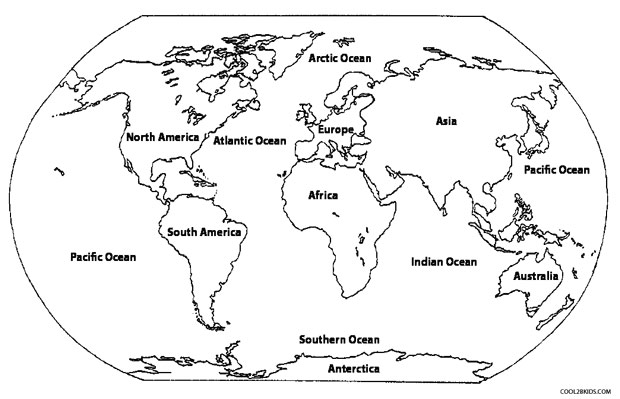 Continents And Oceans Classical Conversations Cycle Week - World map continents and oceans black and white