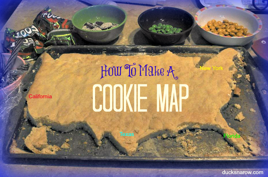 This family baked the cookie then cut the map.  I have tried both ways and both will work.