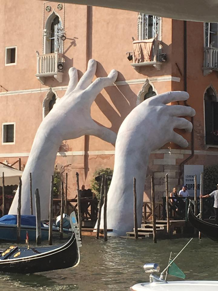"This piece is called ""Support"" from Italian artist Lorenzo Quinn, highlighting Climate Change ( more here )"
