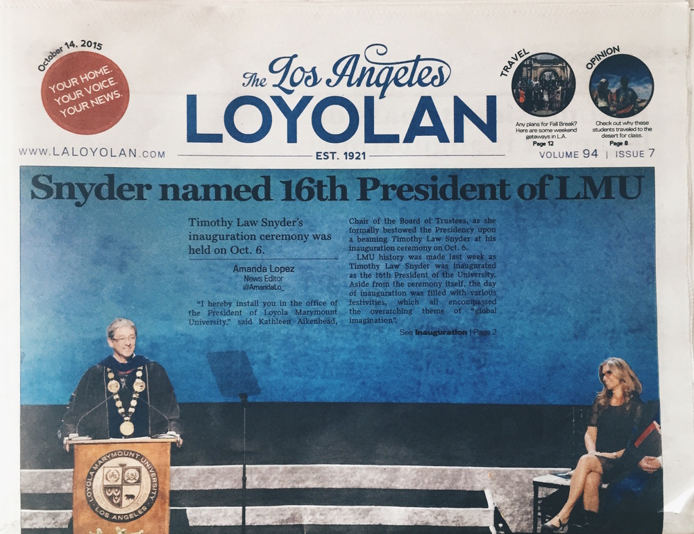 """Snyder named 16th President of LMU"" / Amanda Lopez, News Editor 
