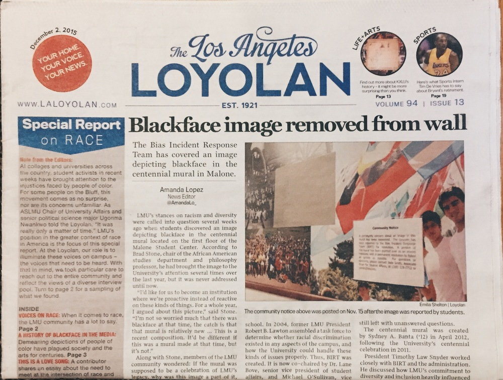 """Blackface image removed from wall"" / Amanda Lopez, News Editor 