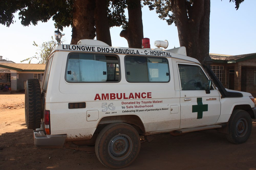 lone ambulance at Kabudula Hospital, July 2017
